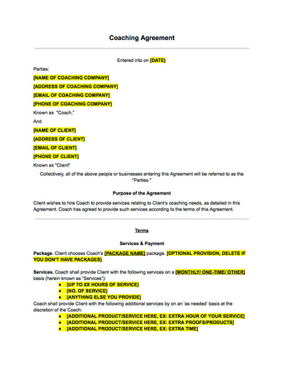 Coaching Contract Template