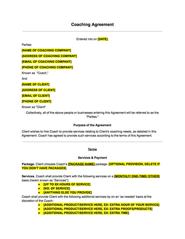 Coaching Contract Template  The Contract Shop