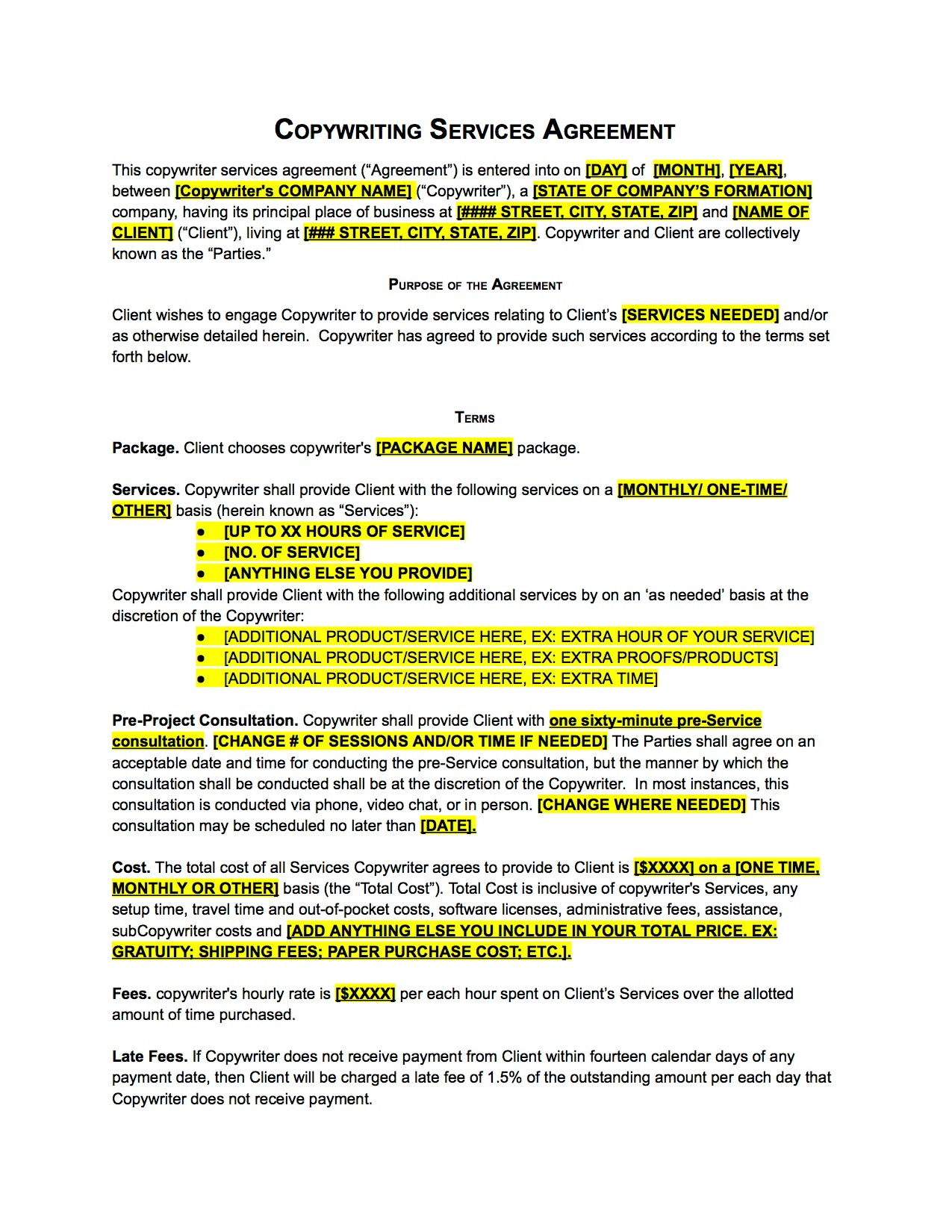 Copywriter Agreement Contract Template