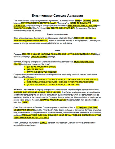 ... DJ/Entertainment Company Contract Template  Company Contract Template