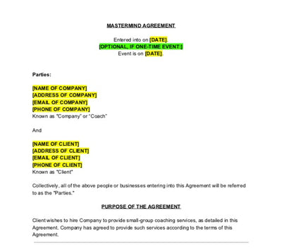 Mastermind Agreement Contract Template