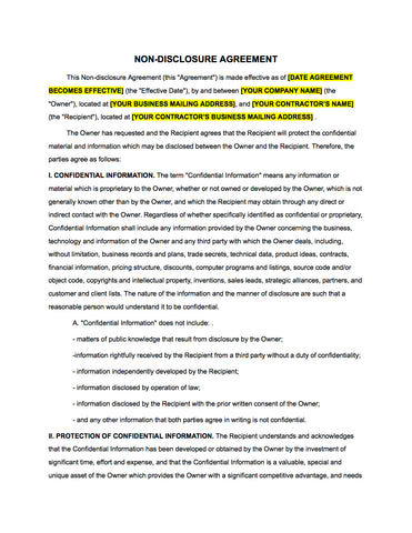 ... Non Disclosure [NDA] Agreement For New Hires Or Collaborations