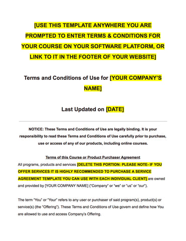 Online Course Creator Seller Terms Conditions Privacy Policy - Terms of use template