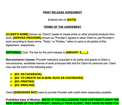 Print Release Contract Template
