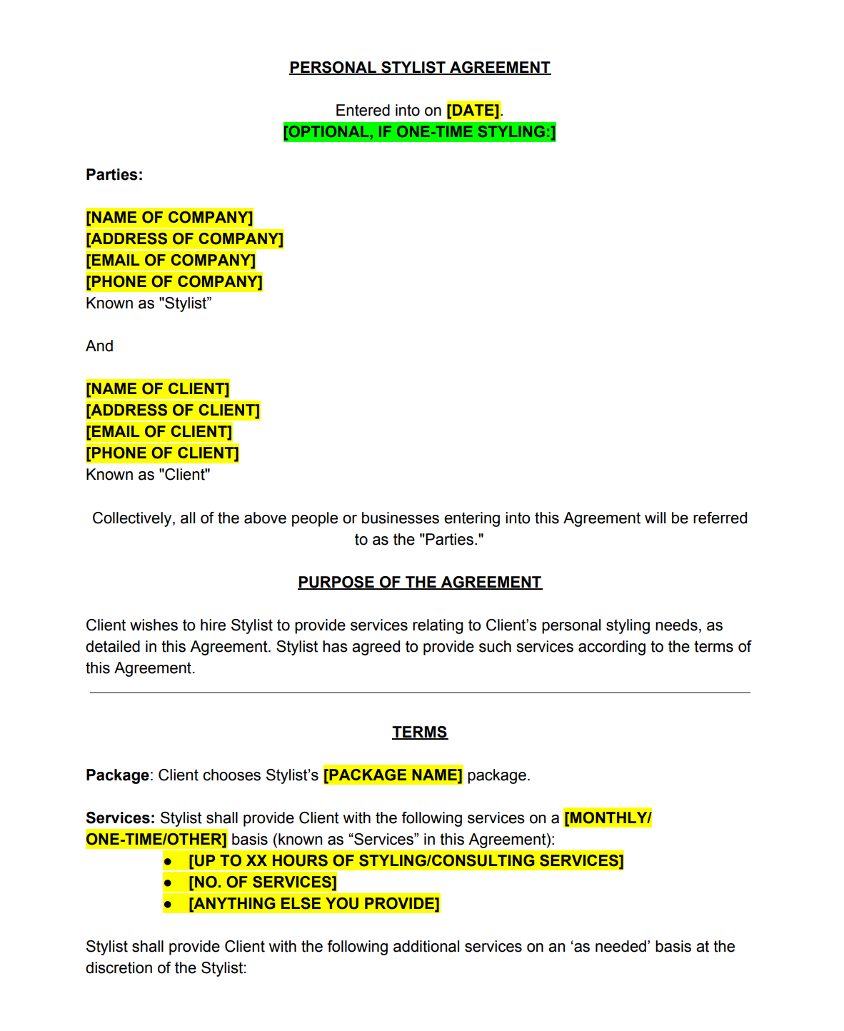 Personal Stylist Contract Template The Contract Shop