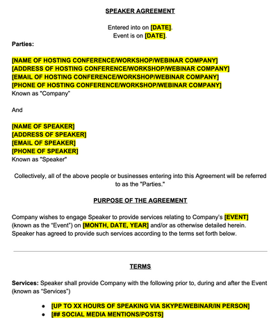 Workshop or Conference Speaker Contract Template