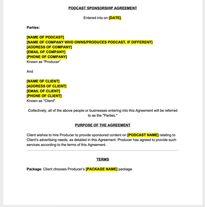 Podcast Sponsorship Contract Template