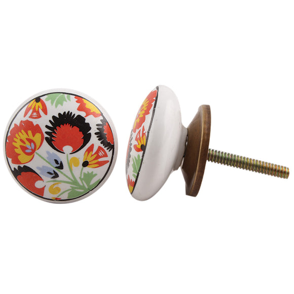 Dancing Poppies Flat Ceramic Knob - Hip N Humble