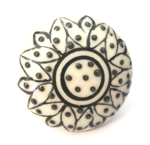 Black and White Floral Flat Ceramic Knob - Hip N Humble