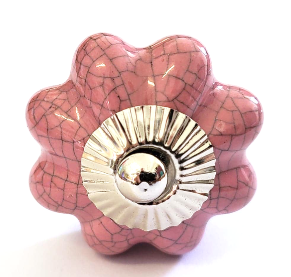 Pink Crackle Ceramic Melon Knob - Hip N Humble
