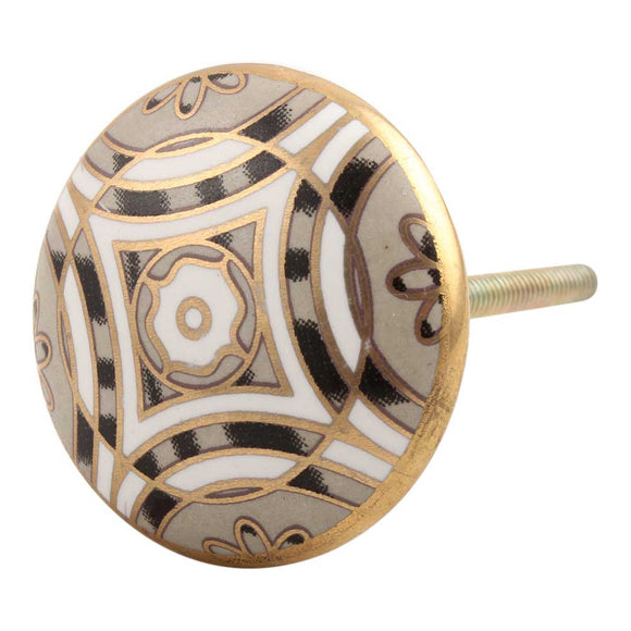 Golden Ceramic Floral Knob - Hip N Humble