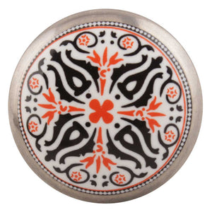 Orange And Black Ceramic Cabinet Knob - Hip N Humble