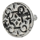 Rustic White Metal Floral Knob - Hip N Humble