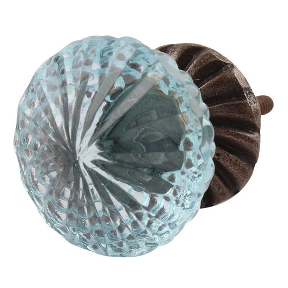 Light Blue Crystal Glass and Bronze Knob - Hip N Humble