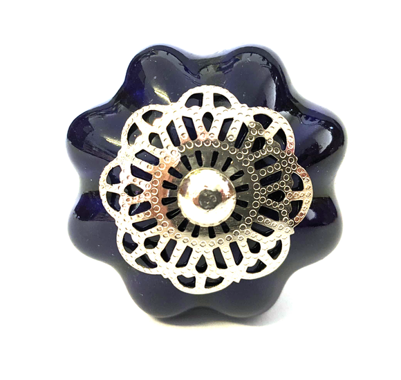 Night Blue Filigree Ceramic Melon Knob - Hip N Humble