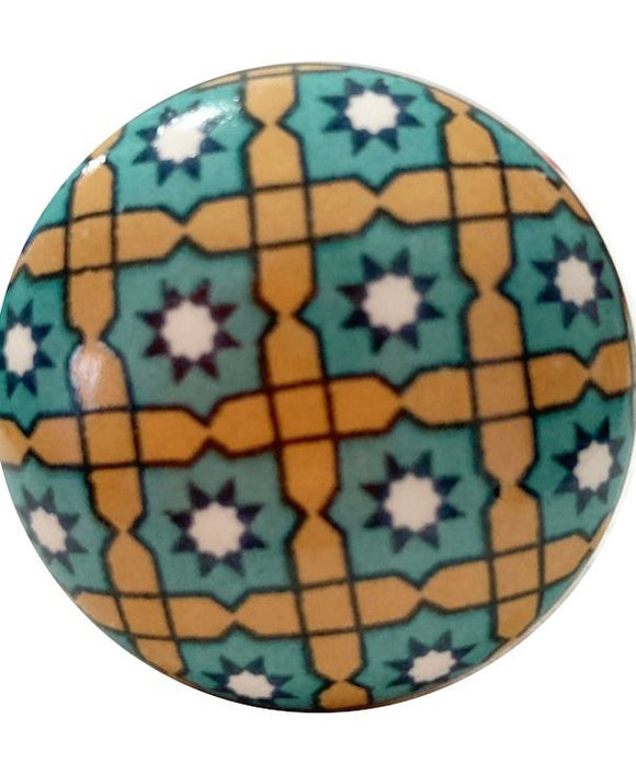 Moroccan Star Flat Ceramic Knob - Hip N Humble