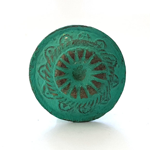 Teal Rustic Wheel Metal Knob - Hip N Humble