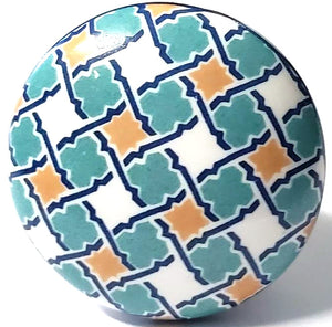 Aqua and Mustard Persian Flat Ceramic Knob - Hip N Humble