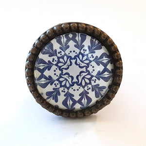 Blue and White Pattern Glass Metal Knob - Hip N Humble