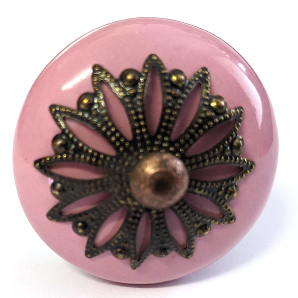 Pink Filigree Ceramic Knob - Hip N Humble