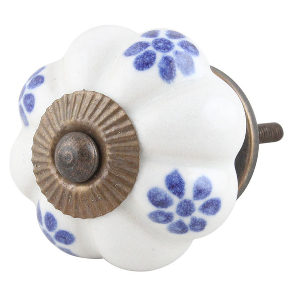 Blue and White Flower Ceramic Knob - Hip N Humble