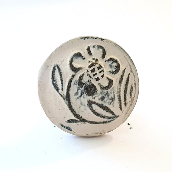 White Forget Me Not Metal Knob - Hip N Humble
