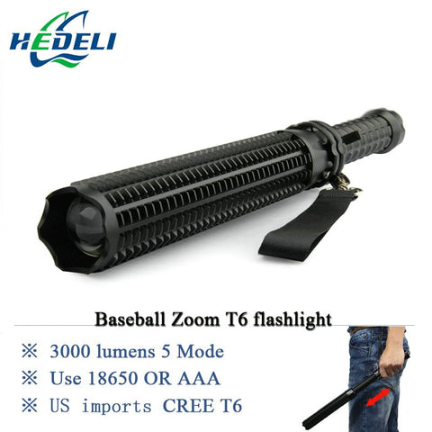 powerful telescoping led cree xml t6 flashlight tactical torch baton