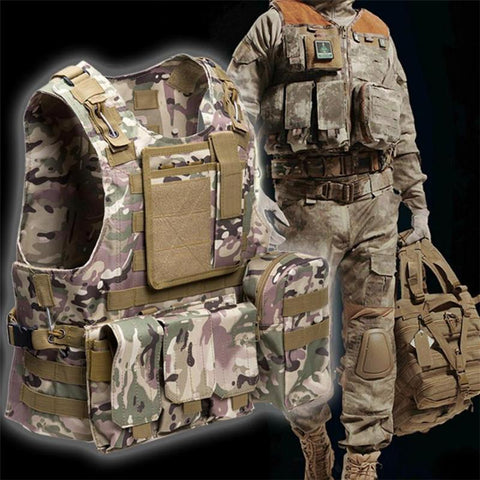 Tactical Vest 7 Colors Mens Military Hunting Vest Molle Plate Carrier Hunting Vest