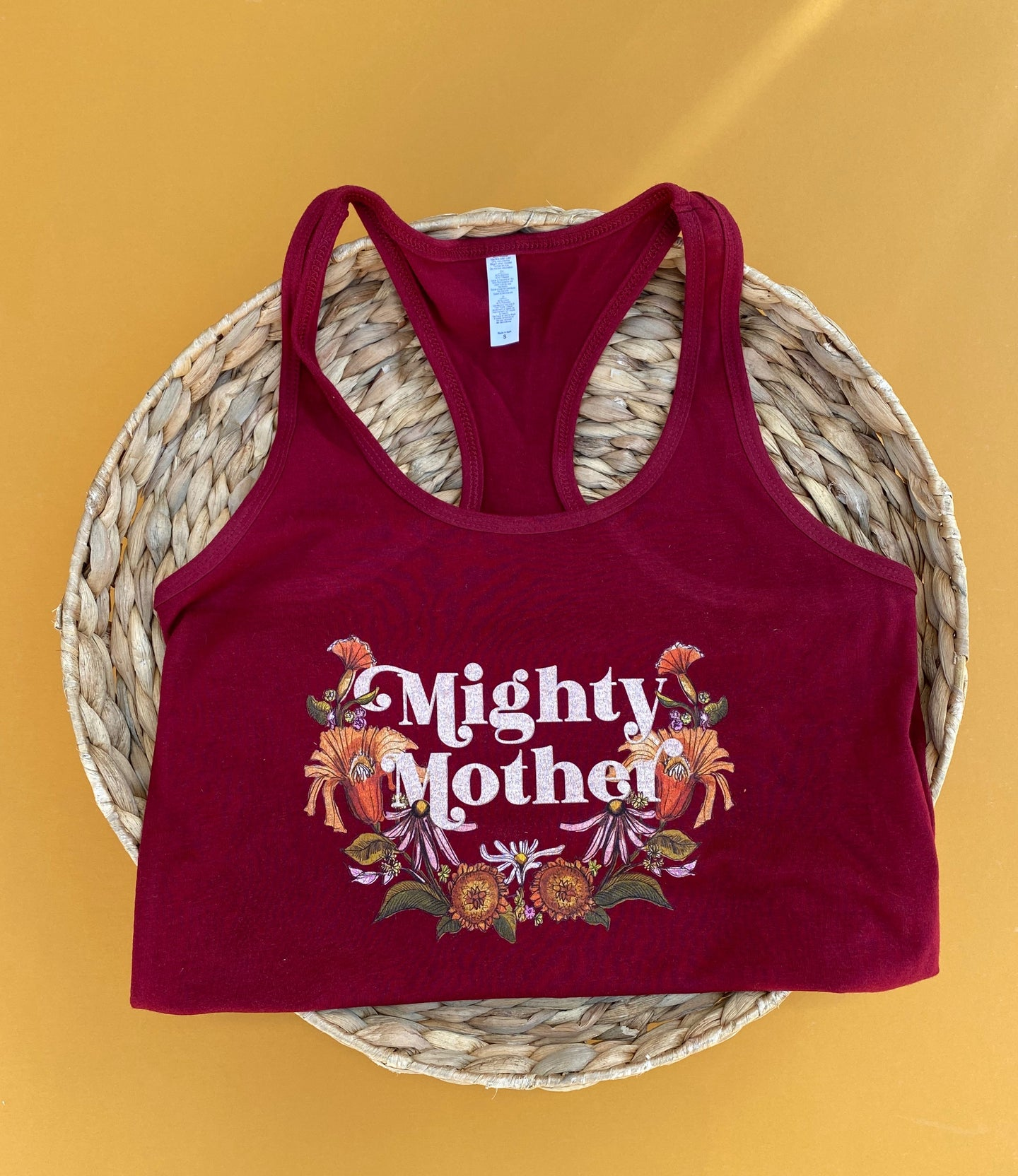 Mighty Mother - Racerback Ladies Tank Top - Cranberry [Ready to Ship]