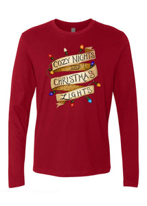 Cozy Nights & Christmas Lights -  Crimson [Adult Unisex Long Sleeves]