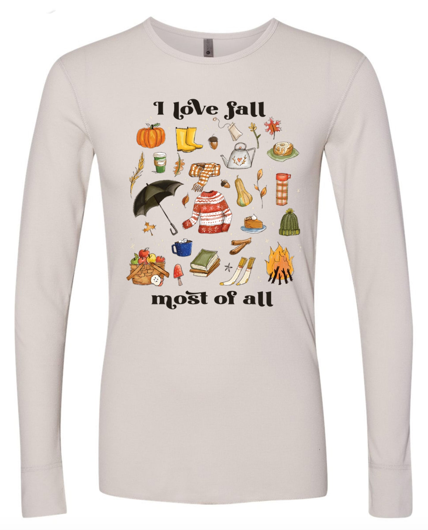 I Love Fall Most of All - Light Gray Mini Waffel Thermal [Unisex Long Sleeves]