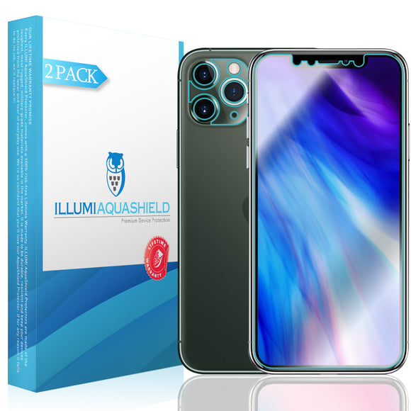 Apple iPhone 11 Pro Max [6.5 inch] [2-Pack] ILLUMI AquaShield [Case Friendly + Camera Lens] Screen Protector