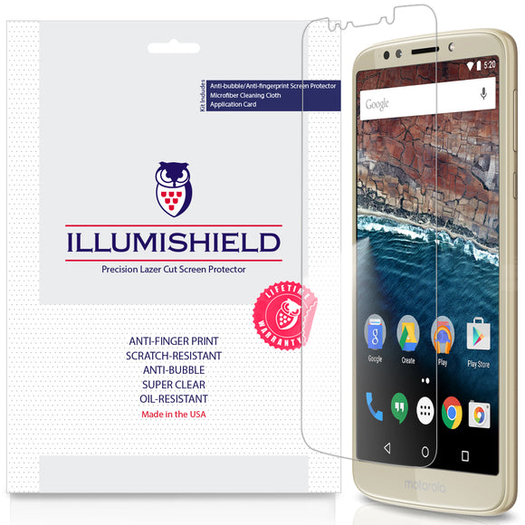 Motorola Moto E5 (5th Generation, 2018) ILLUMISHIELD Screen Protector [3-Pack]