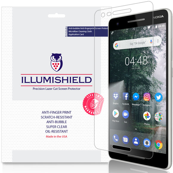 Nokia 2V [3-Pack] iLLumiShield Clear Screen Protector (Nokia 2.1 2018)