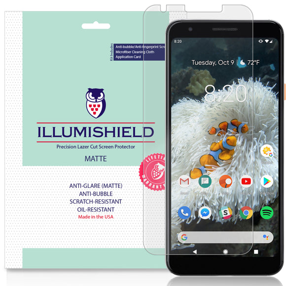 Google Pixel 3a [3-Pack](Case Friendly)  iLLumiShield Matte Anti-Glare Screen Protector
