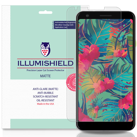 Google Pixel 3a XL [3-Pack][Compatible w/ Cases] iLLumiShield Matte Anti-Glare Screen Protector