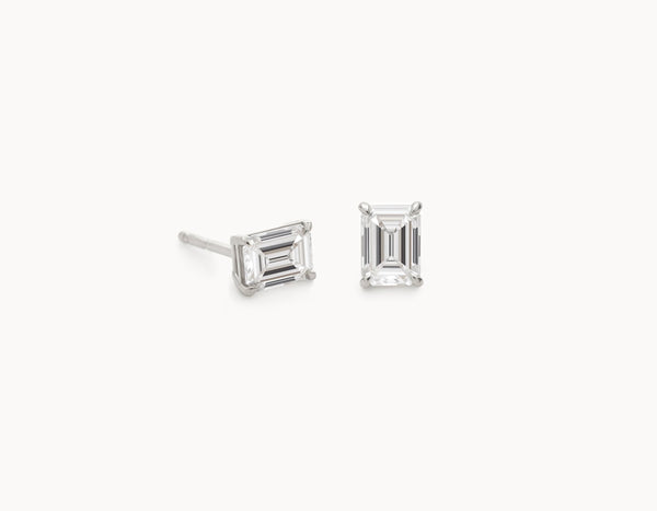 Modern Simple 18k White Gold 1/2ct Emerald Diamond Studs
