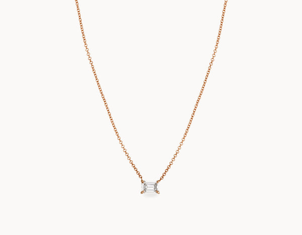 Classic Minimal 18k Rose Gold 1/2ct Emerald Diamond Necklace