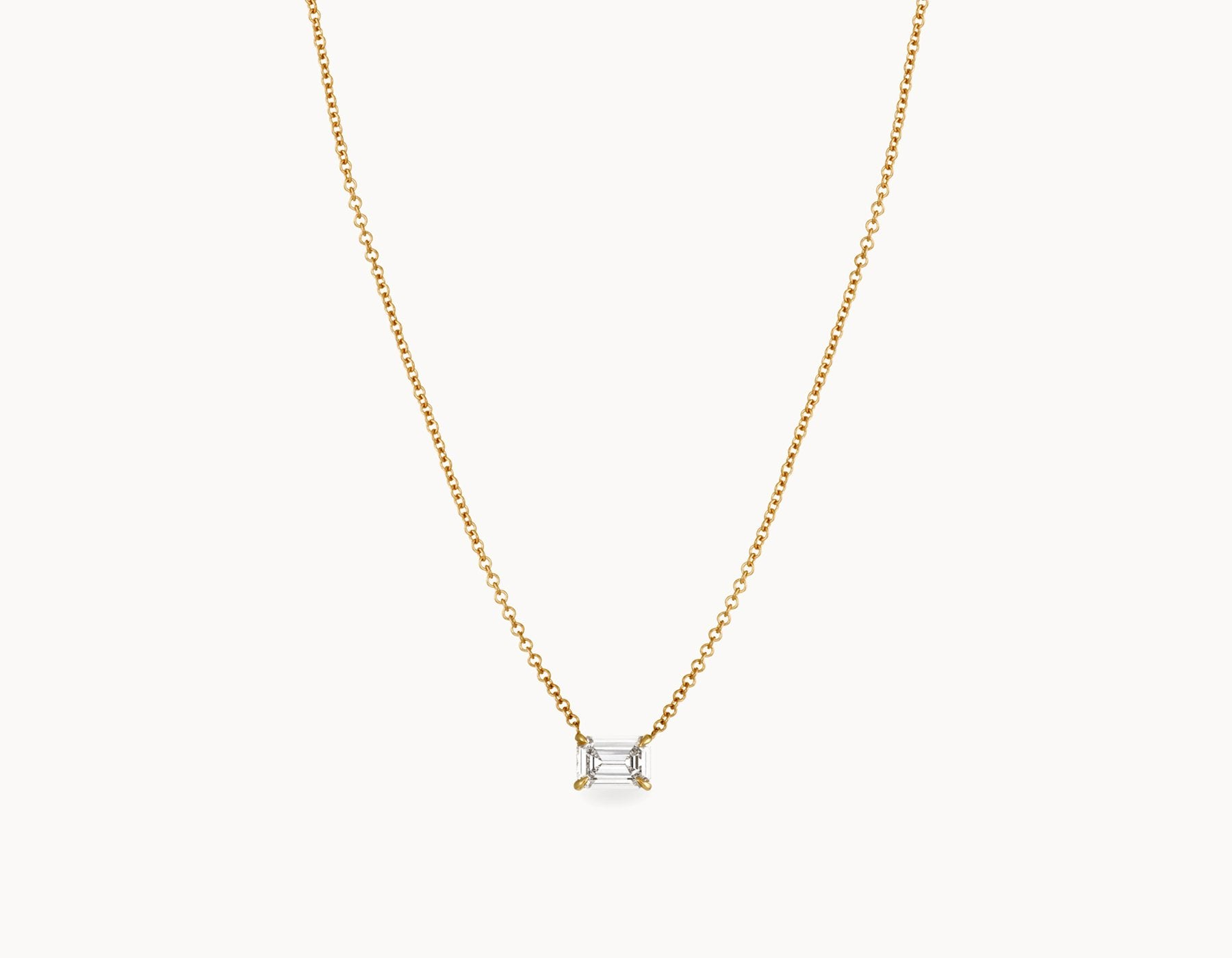 Classic Minimal 18k Yellow Gold 1/2ct Emerald Diamond Necklace