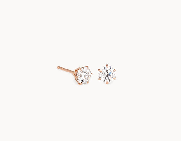 Modern Simple 18k Rose Gold 1/2ct Round Brilliant Diamond Studs