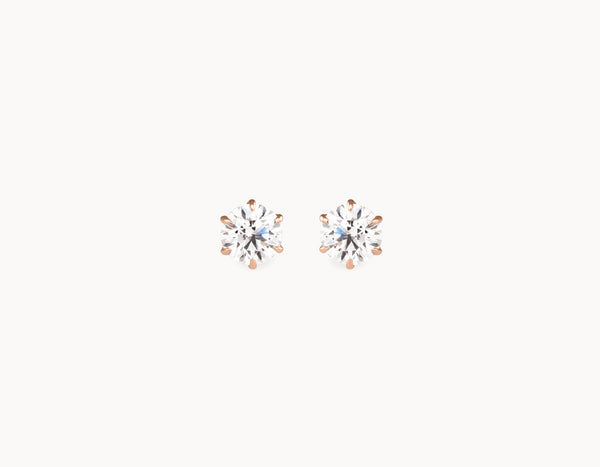 Classic Minimal 18k Rose Gold 1/2ct Round Brilliant Diamond Studs