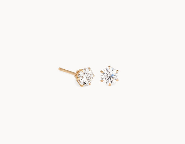 Simple Modern 18k Yellow Gold 1/2ct Round Brilliant Diamond Studs