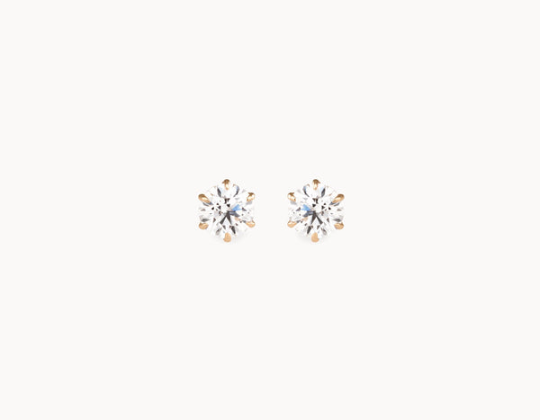 Classic Minimal 18k Yellow Gold 1/2ct Round Brilliant Diamond Studs