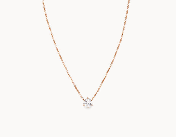 Classic Minimal 18k Rose Gold 1/2ct Round Brilliant Diamond Necklace