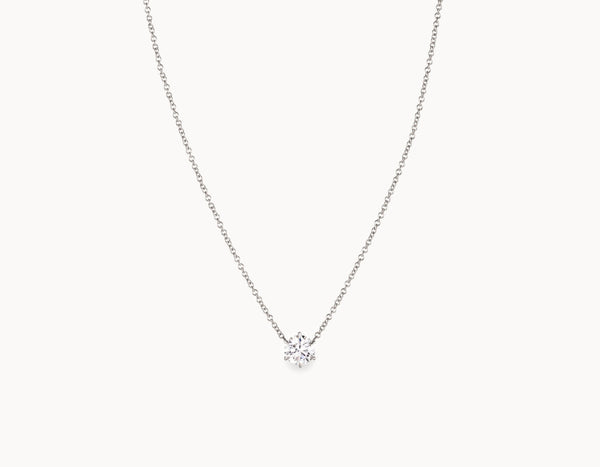 Classic Minimal 18k White Gold 1/2ct Round Brilliant Diamond Necklace