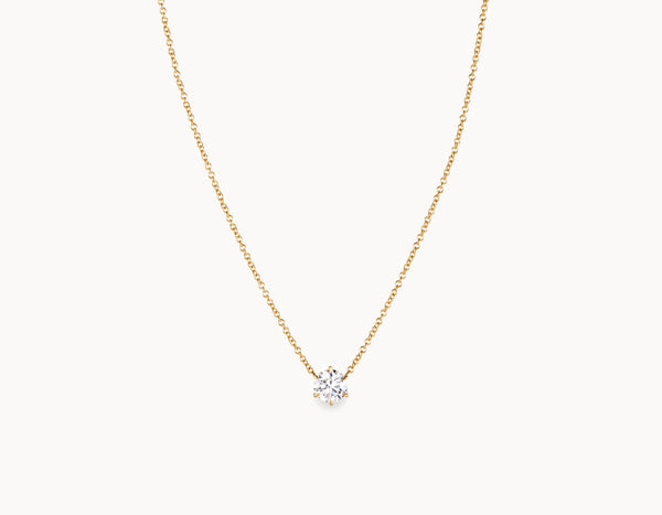 Classic Minimal 18k Yellow Gold 1/2ct Round Brilliant Diamond Necklace