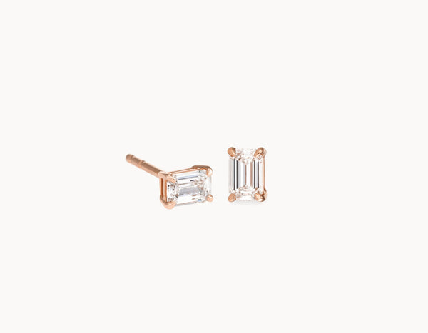Simple Modern 18k Rose Gold 1/4ct Emerald Diamond Studs