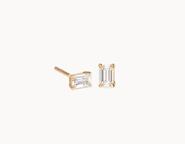 Simple Modern 18k Yellow Gold 1/4ct Emerald Diamond Studs
