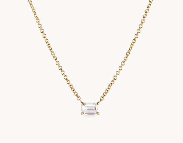 Simple Modern 18k Yellow Gold 1/4ct Round Brilliant Diamond Necklace