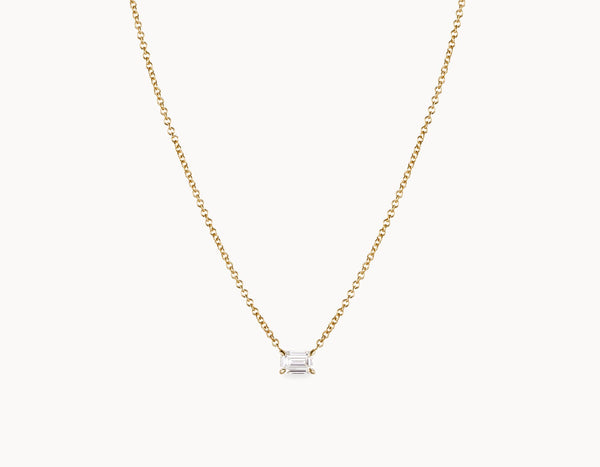 Classic Minimal 18k Yellow Gold 1/4ct Round Brilliant Diamond Necklace